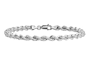 14k White Gold 4mm Regular Rope Chain