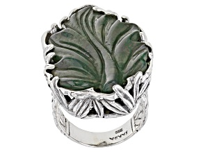 Pre-Owned Green Moss Agate Sterling Silver Ring