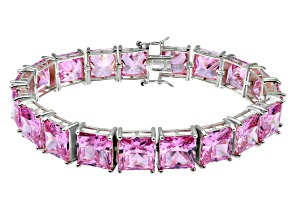 Pre-Owned Bella Luce ® 113.00ctw Pink Diamond Simulant Sterling Silver Bracelet 7.25""
