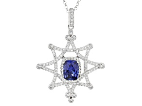 Pre-Owned Lab Created Sapphire & White Cubic Zirconia Platineve Pendant With Chain 2.82ctw
