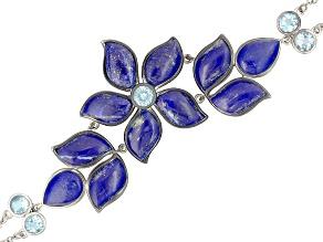 Pre-Owned Blue Lapis Lazuli Sterling Silver Bracelet 5.63ctw