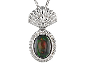 Pre-Owned Black Ethiopian Opal Sterling Silver Pendant With Chain .70ct