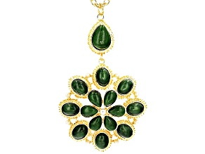 Pre-Owned Jade Simulant Pearl Simulant Gold Tone Pendant With Chain