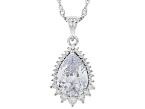 Pre-Owned White Cubic Zirconia Rhodium Over Sterling Silver Pendant With Chain 9.80ctw