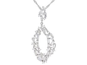 Pre-Owned White Cubic Zirconia Rhodium Over Sterling Silver Pendant With Chain 5.21ctw