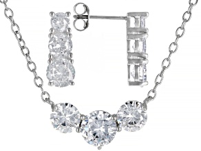 Pre-Owned White Cubic Zirconia Rhodium Over Sterling Silver Earrings And Necklace Set 10.00ctw