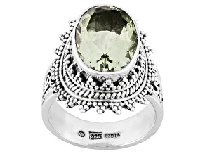 Pre-Owned Green Prasiolite Sterling Silver Ring 5.00ct