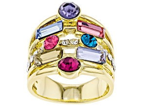 Pre-Owned Multi-color Crystal Gold Tone Multi Row Ring