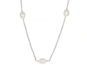 Pre-Owned White Cultured Freshwater Pearl Rhodium Over Sterling Silver 36 Inch Station Necklace