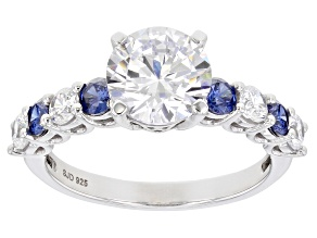 Pre-Owned Blue And White Cubic Zirconia Rhodium Over Sterling Silver Ring 3.78ctw (2.52ctw DEW)