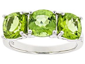 Pre-Owned Square cushion peridot rhodium over sterling silver 3-stone ring 4.34ctw