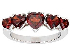 Pre-Owned Red Garnet Rhodium Over Sterling Silver Ring 2.20ctw