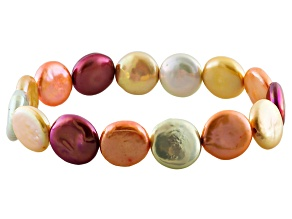 Pre-Owned Multi-Color Cultured Freshwater Pearl Stretch Bracelet 13mm