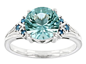 Pre-Owned Green And Blue Cubic Zirconia Rhodium Over Sterling Silver Ring 2.84ctw