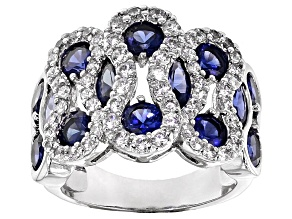 Pre-Owned Blue Sapphire Simulant And White Cubic Zirconia Silver Ring 7.70ctw