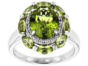Pre-Owned Green Peridot Rhodium Over Silver Ring 3.46ctw