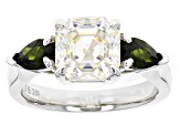 Pre-Owned White Fabulite Strontium Titanate And Russian Chrome Diopside Rhodium Over Silver Ring 4.1