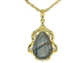 Pre-Owned Gray Labradorite 18k Yellow Gold Over Silver Pendant with chain 6.30ctw