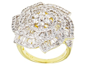 Pre-Owned Cubic Zirconia 18k Yellow Gold Over Silver Ring 3.80ctw