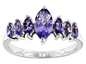 Pre-Owned Blue Tanzanite Rhodium Over Sterling Silver Ring 1.20ctw