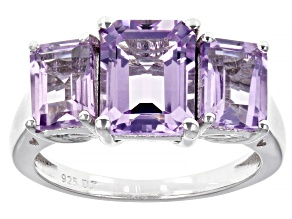 Pre-Owned Pink Rose De France Amethyst  Rhodium Over Sterling Silver 3-Stone Ring 3.52ctw