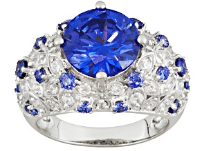 Pre-Owned Blue And White Cubic Zirconia Rhodium Over Sterling Silver Ring 8.20ctw
