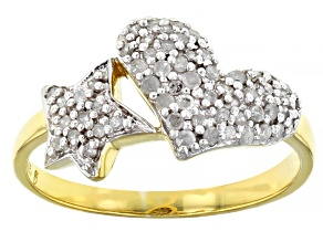 Pre-Owned White Diamond 14K Yellow Gold Over Sterling Silver Heart And Star Cluster Ring 0.33ctw
