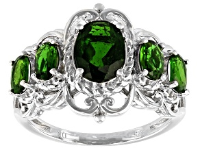 Pre-Owned Chrome Diopside Rhodium Over Sterling Silver Ring 1.29ctw