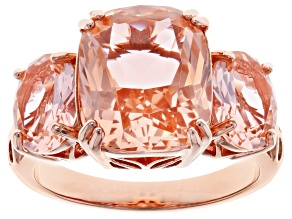 Pre-Owned Morganite Simulant 18K Rose Gold Over Sterling Silver Ring 6.49ctw