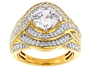Pre-Owned White Cubic Zirconia 18K Yellow Gold Over Sterling Silver Ring 4.50ctw