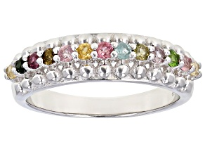 Pre-Owned Multi Tourmaline Rhodium Over Sterling Silver Ring 0.358ctw