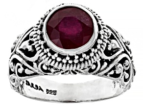 Pre-Owned Red Mahaleo(R) Ruby Sterling Silver Ring 2.47ct