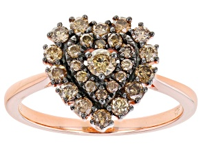 Pre-Owned Champagne Diamond 14K Rose Gold Over Sterling Silver Heart Cluster Ring 0.65ctw