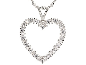 Pre-Owned White Cubic Zirconia Rhodium Over Sterling Silver Heart Pendant With Chain 1.65ctw