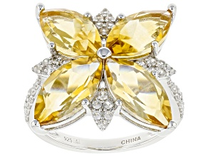 Pre-Owned Yellow Citrine Rhodium Over Sterling Silver Rings 6.64ctw