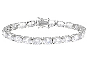 Pre-Owned White Cubic Zirconia Rhodium Over Sterling Silver Bracelet 42.32ctw