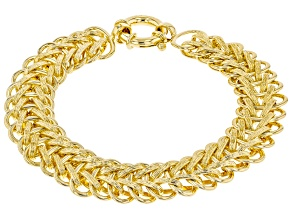 Pre-Owned Moda Al Massimo ® 18k Yellow Gold Over Bronze 16.02MM Woven Chain Bracelet