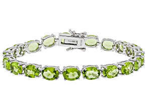 Pre-Owned Green peridot rhodium over silver bracelet 20.53ctw
