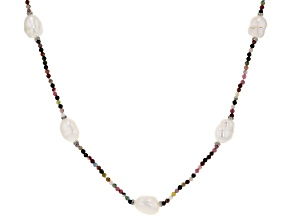 Pre-Owned Cultured Freshwater Pearl With Tourmaline And Diamond Simulant Silver Tone 32 Inch Necklac