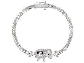 Pre-Owned Lab Created Blue Spinel & White Cubic Zirconia Rhodium Over Silver Elephant Bracelet 1.86c