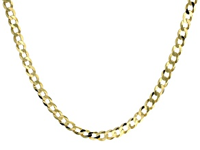 Pre-Owned 18K Yellow Gold Sterling Silver Diamond Cut 6 MM Flat Curb Chain 22 Inch Necklace