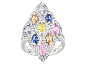 Pre-Owned White Lavender Blue Brown Pink And Yellow Cubic Zirconia Rhodium Over Silver Ring 3.09ctw