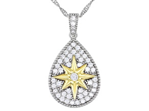 Pre-Owned White Cubic Zirconia Rhodium And 14K Yellow Gold Over Silver Star Pendant With Chain 1.23c