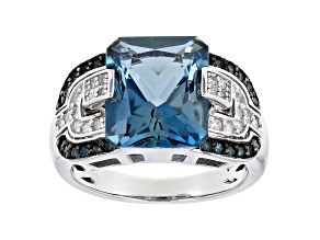 Pre-Owned London Blue Topaz Rhodium Over Sterling Silver Ring 6.84ctw