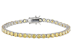 Pre-Owned Yellow Cubic Zirconia Rhodium Over Sterling Silver Tennis Bracelet 16.38ctw