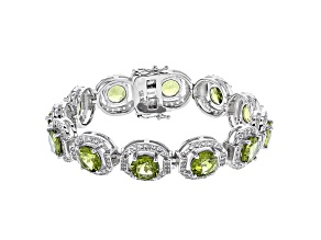 Pre-Owned Green Peridot Rhodium Over Sterling Silver Bracelet 22.97ctw