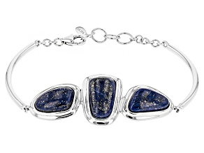 Pre-Owned Blue Lapis Lazuli Sterling Silver 3-Stone Bracelet