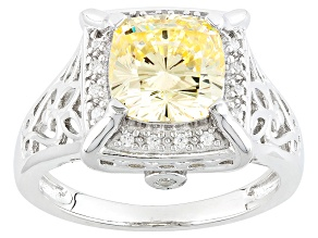 Pre-Owned Yellow And White Cubic Zirconia Rhodium Over Silver Ring 4.17ctw