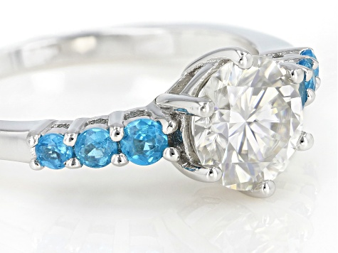 Pre-Owned Moissanite and neon apatite platineve ring 1.20ct DEW.