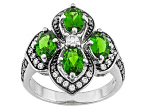 Pre-Owned Chrome Diopside And White Zircon Sterling Silver Ring 2.48ctw